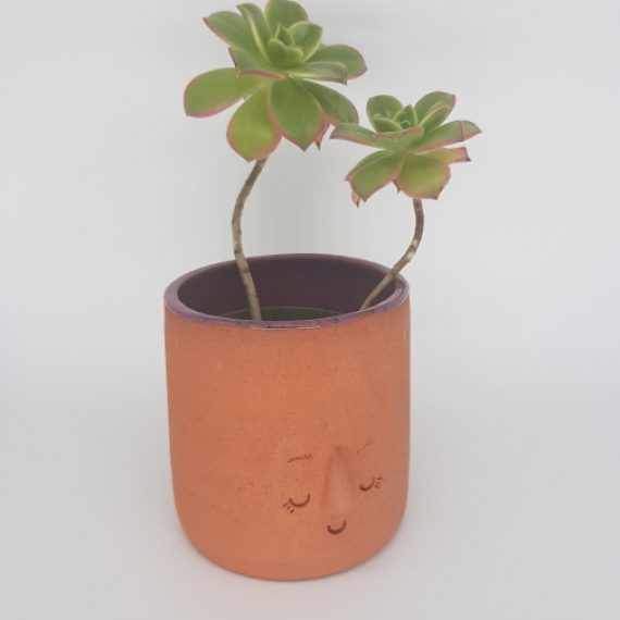 Terracotta Face Pot (Purple)
