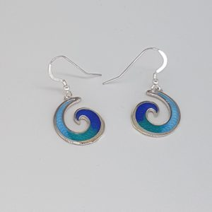 Enamelled Wave Earrings
