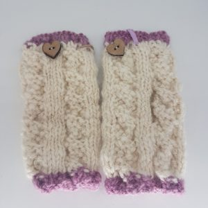 alpaca woollen gloves lilac edging