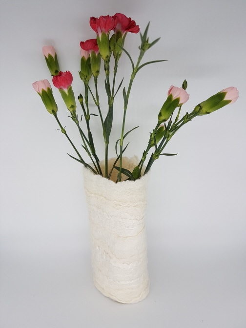 felted vessel white