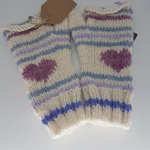 handknitted alpaca wool gloves lilac and blue
