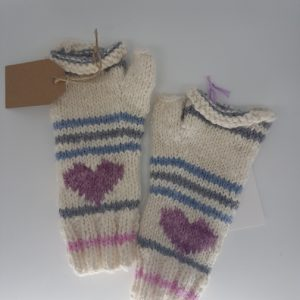 alpaca woollen gloves grey and blue