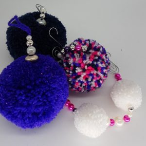 Blue and Purple pom pom set