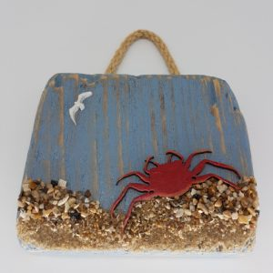 driftwood decoration with crab