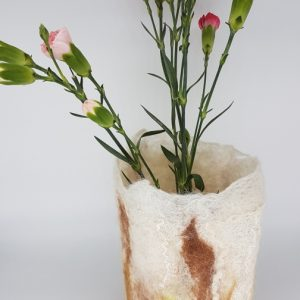 White and brown felted vessel