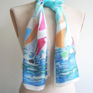 Regatta hand painted silk scarf