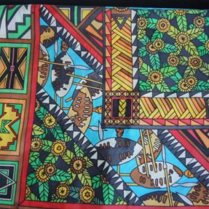 silk painted scarf africa design