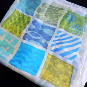 hand painted silk scarf cornish sudoku