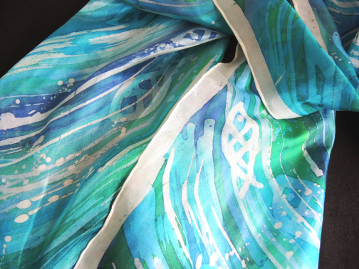 shoal of fish hand dyed silk scarf