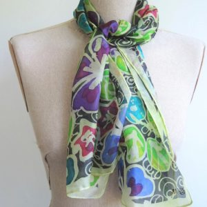 hand painted silk scarf vines