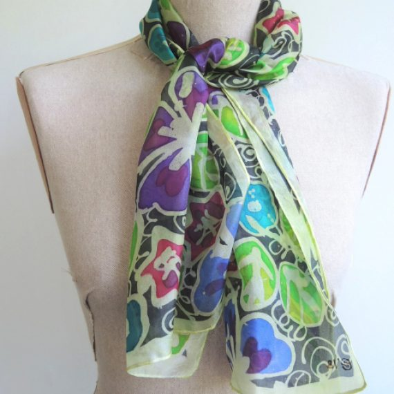 'Flower Vines' Silk Scarf