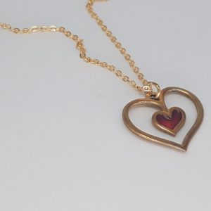 red heart pendant necklace bronze