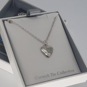 Planished heart necklace