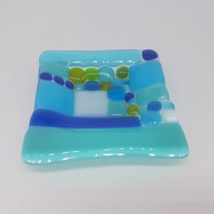 Blue & Turquoise Fused Glass Trinket Dish
