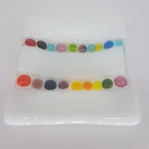 Fused Glass Trinket Dish (Coloured Spots)