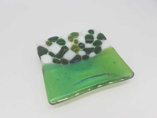 Fused Glass Trinket Dish Green & White