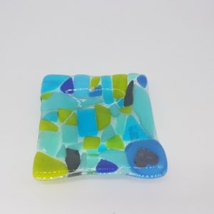 Turquoise Fused Glass Trinket Dish