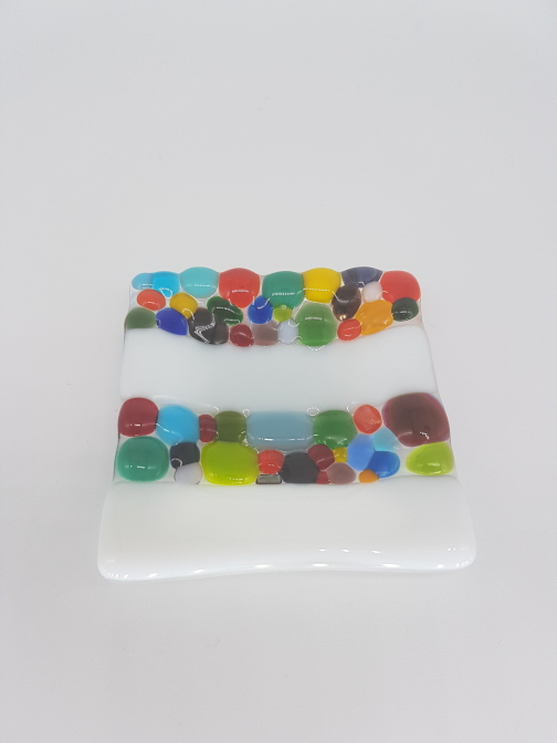 Fused Glass White & Coloured Trinket Dish