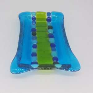 Glass Soap Dish Blue and Green
