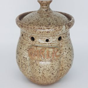 Ceramic Garlic Pot Brown
