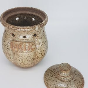 ceramic garlic pot speckled brown