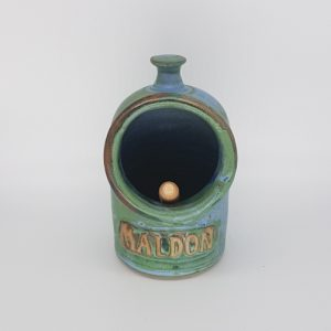 Green and Blue Ceramic Salt Pig