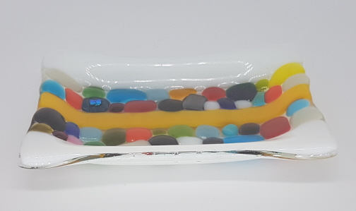 Fused Glass Stripe Soap Dish